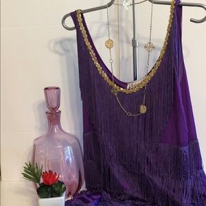 Charades M Purple Flapper-esque Gold Trimmed Dress